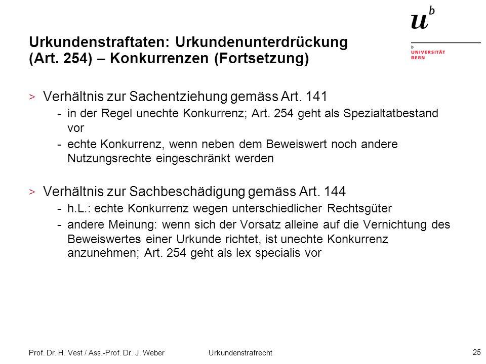 Prof. Dr. H. Vest / Ass.-Prof. Dr. J. Weber Urkundenstrafrecht 25 Urkundenstraftaten: Urkundenunterdrückung (Art. 254) – Konkurrenzen (Fortsetzung) >