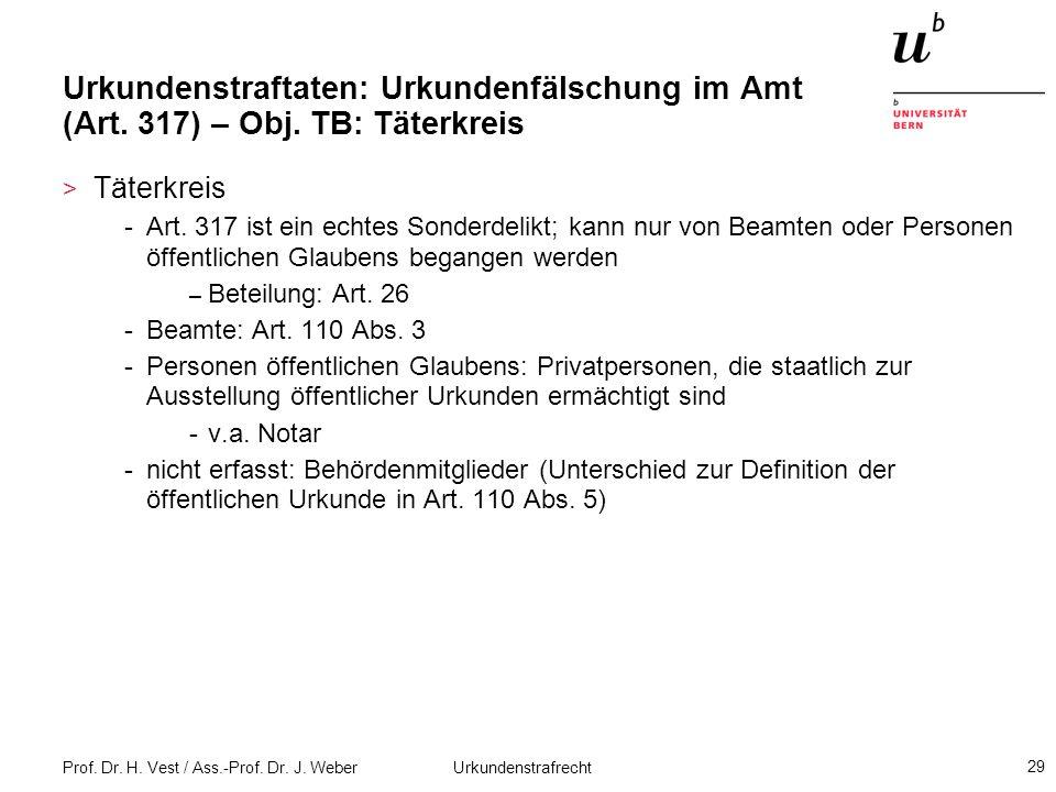 Prof. Dr. H. Vest / Ass.-Prof. Dr. J. Weber Urkundenstrafrecht 29 Urkundenstraftaten: Urkundenfälschung im Amt (Art. 317) – Obj. TB: Täterkreis > Täte