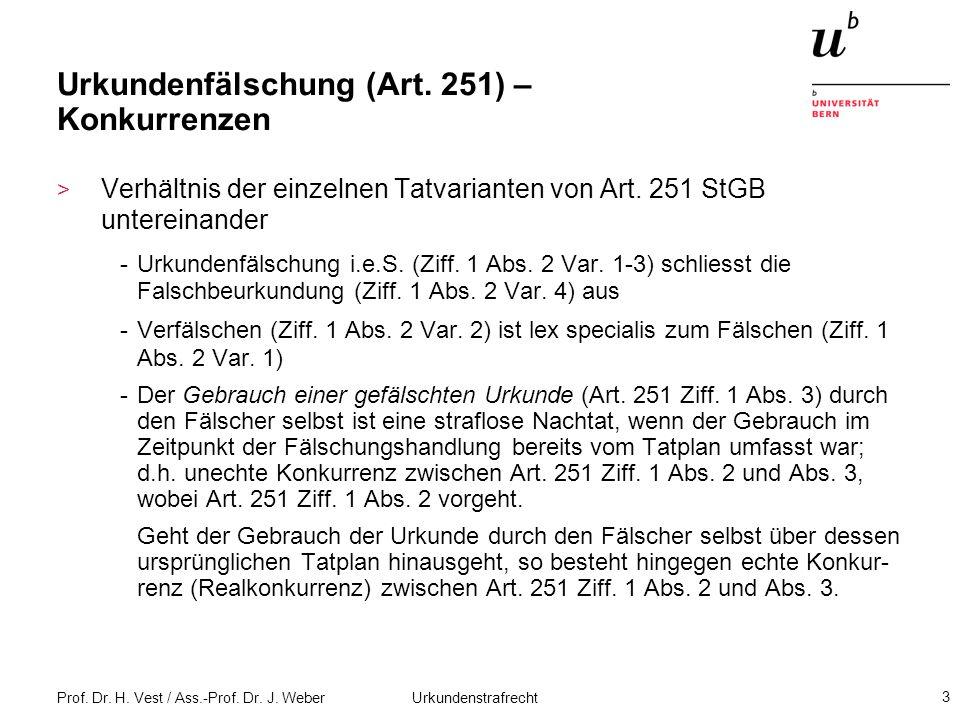 Prof. Dr. H. Vest / Ass.-Prof. Dr. J. Weber Urkundenstrafrecht 3 Urkundenfälschung (Art. 251) – Konkurrenzen > Verhältnis der einzelnen Tatvarianten v