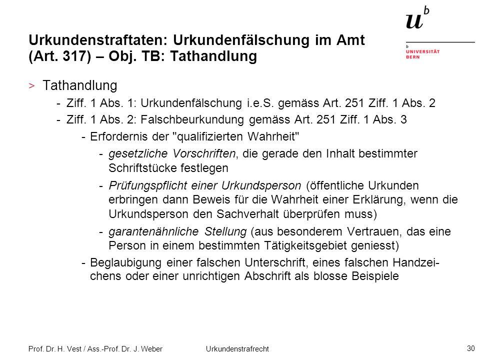 Prof. Dr. H. Vest / Ass.-Prof. Dr. J. Weber Urkundenstrafrecht 30 Urkundenstraftaten: Urkundenfälschung im Amt (Art. 317) – Obj. TB: Tathandlung > Tat