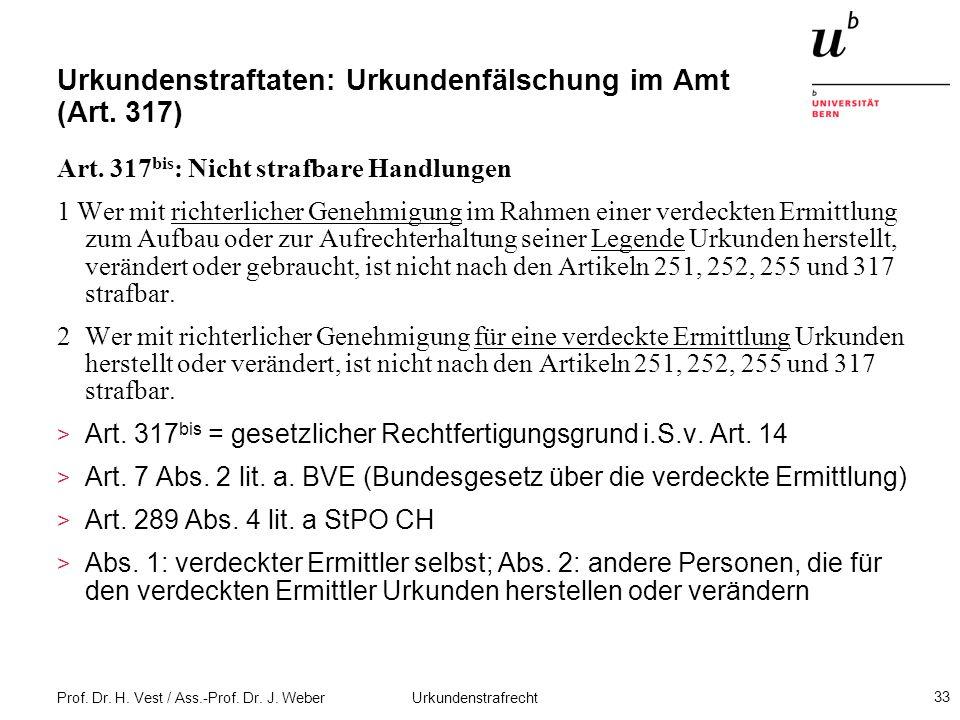 Prof. Dr. H. Vest / Ass.-Prof. Dr. J. Weber Urkundenstrafrecht 33 Urkundenstraftaten: Urkundenfälschung im Amt (Art. 317) Art. 317 bis : Nicht strafba