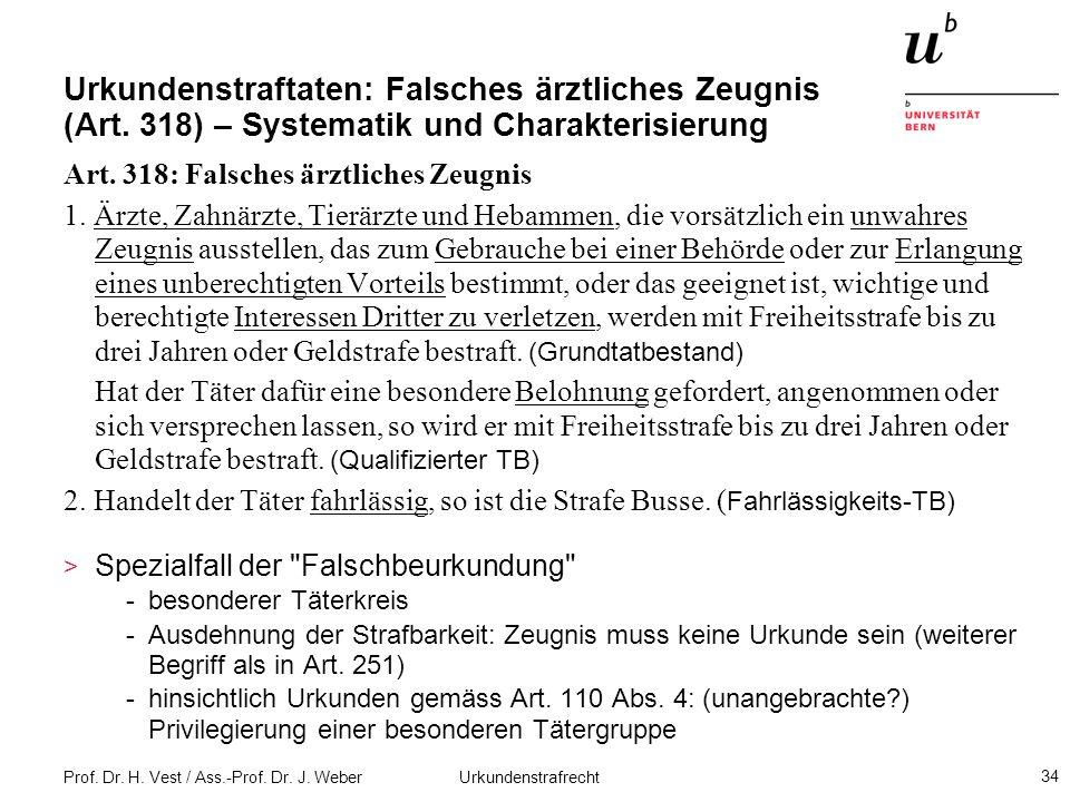 Prof. Dr. H. Vest / Ass.-Prof. Dr. J. Weber Urkundenstrafrecht 34 Urkundenstraftaten: Falsches ärztliches Zeugnis (Art. 318) – Systematik und Charakte
