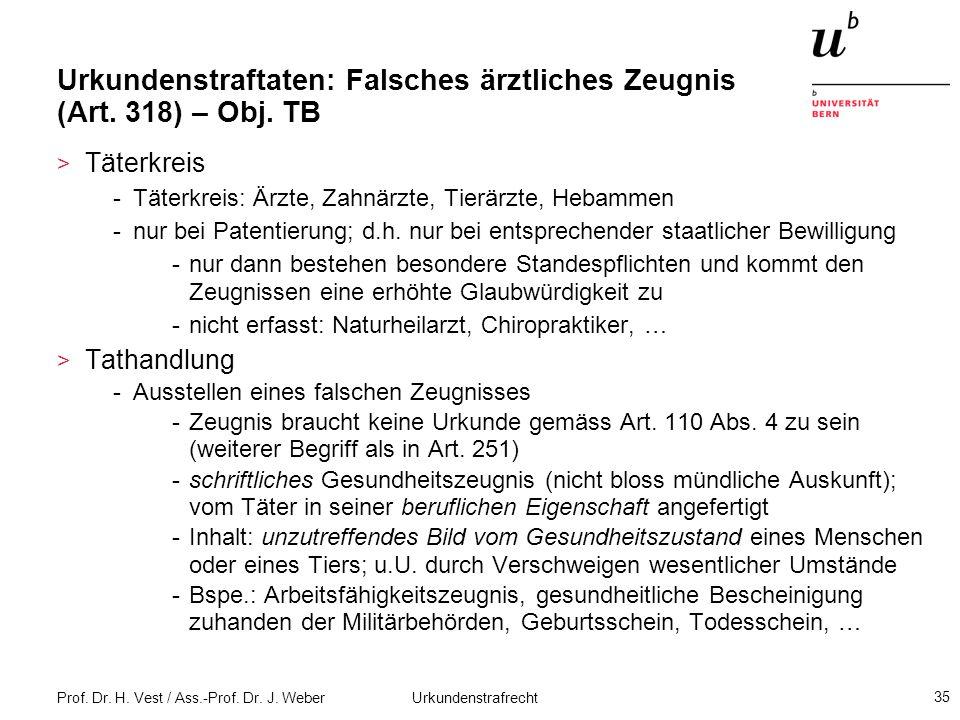 Prof. Dr. H. Vest / Ass.-Prof. Dr. J. Weber Urkundenstrafrecht 35 Urkundenstraftaten: Falsches ärztliches Zeugnis (Art. 318) – Obj. TB > Täterkreis -T