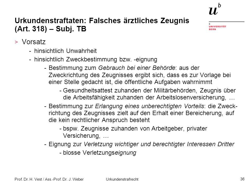 Prof. Dr. H. Vest / Ass.-Prof. Dr. J. Weber Urkundenstrafrecht 36 Urkundenstraftaten: Falsches ärztliches Zeugnis (Art. 318) – Subj. TB > Vorsatz -hin