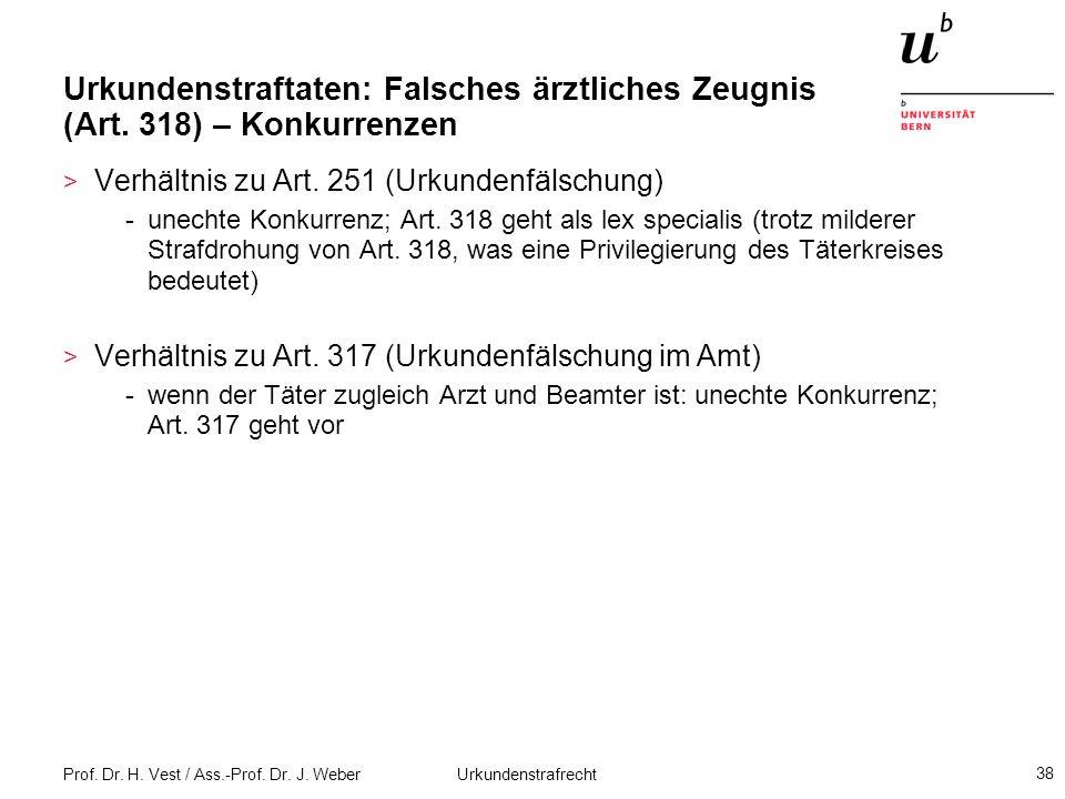 Prof. Dr. H. Vest / Ass.-Prof. Dr. J. Weber Urkundenstrafrecht 38 Urkundenstraftaten: Falsches ärztliches Zeugnis (Art. 318) – Konkurrenzen > Verhältn
