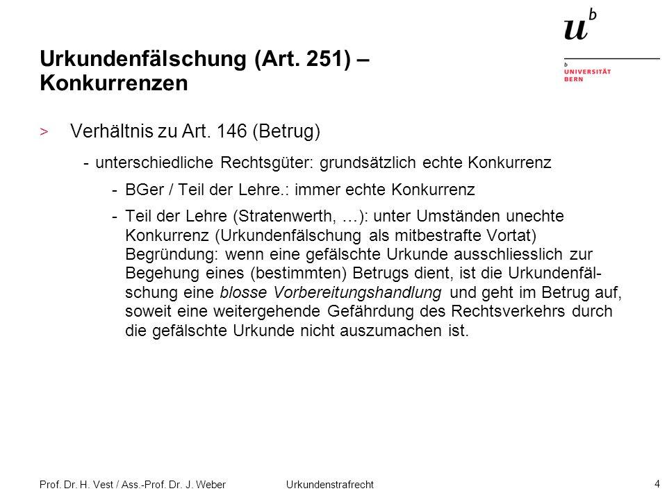 Prof. Dr. H. Vest / Ass.-Prof. Dr. J. Weber Urkundenstrafrecht 4 Urkundenfälschung (Art. 251) – Konkurrenzen > Verhältnis zu Art. 146 (Betrug) -unters