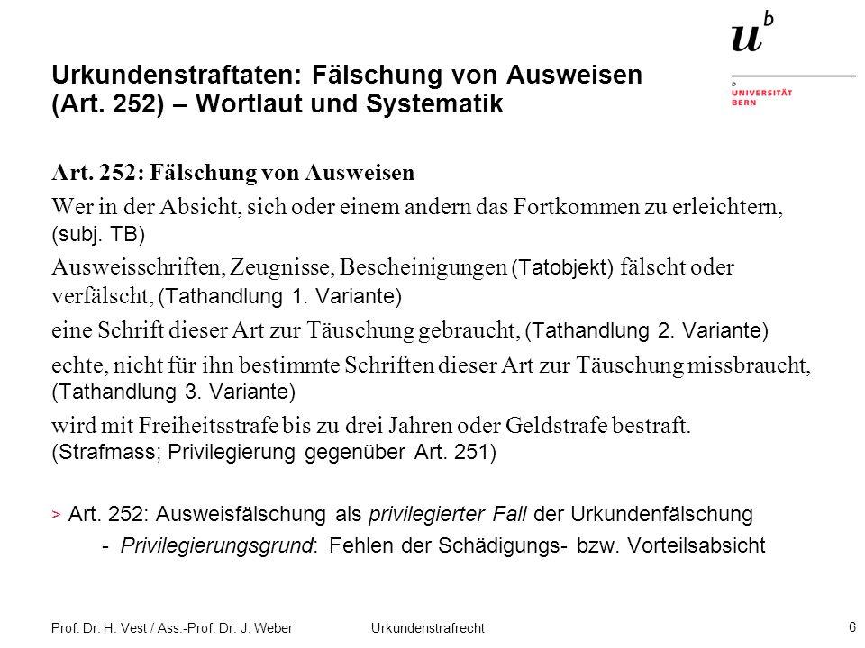 Prof. Dr. H. Vest / Ass.-Prof. Dr. J. Weber Urkundenstrafrecht 6 Urkundenstraftaten: Fälschung von Ausweisen (Art. 252) – Wortlaut und Systematik Art.