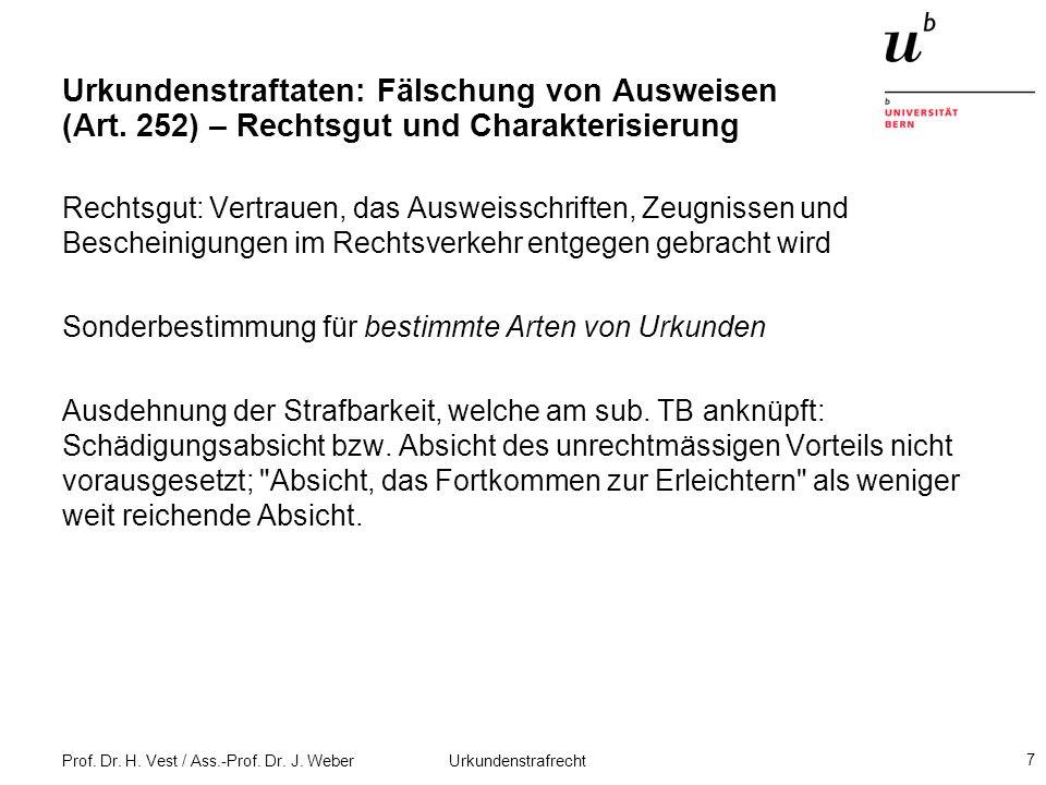 Prof. Dr. H. Vest / Ass.-Prof. Dr. J. Weber Urkundenstrafrecht 7 Urkundenstraftaten: Fälschung von Ausweisen (Art. 252) – Rechtsgut und Charakterisier