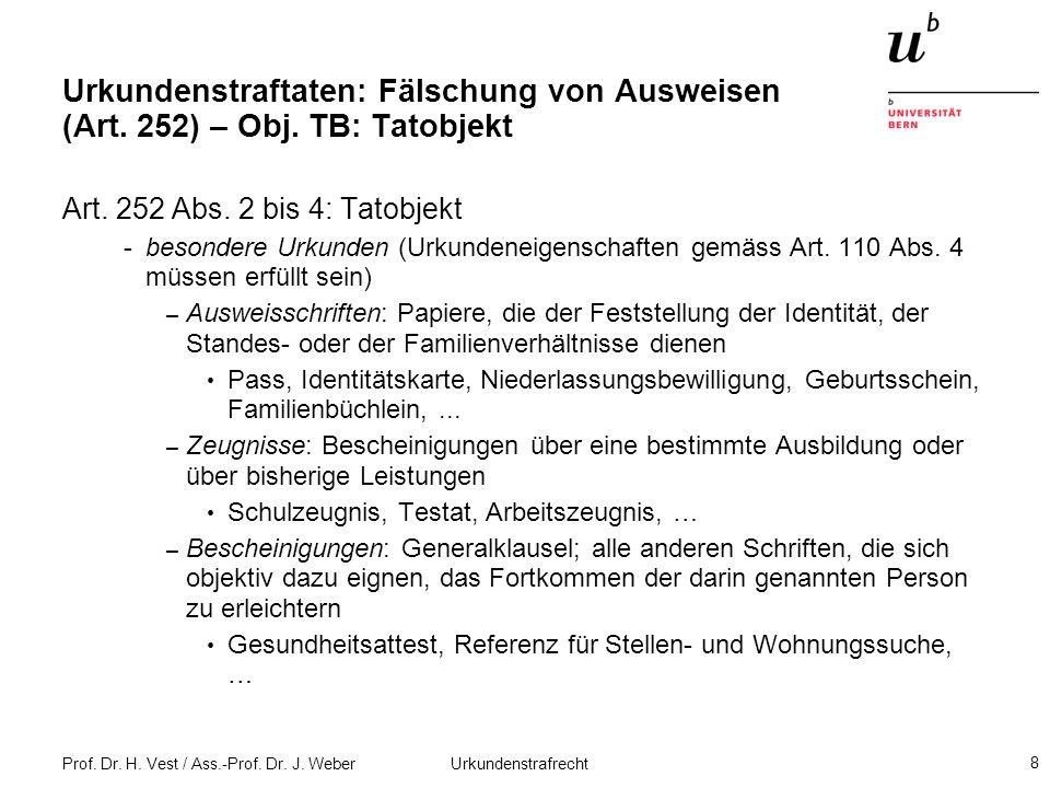 Prof. Dr. H. Vest / Ass.-Prof. Dr. J. Weber Urkundenstrafrecht 8 Urkundenstraftaten: Fälschung von Ausweisen (Art. 252) – Obj. TB: Tatobjekt Art. 252