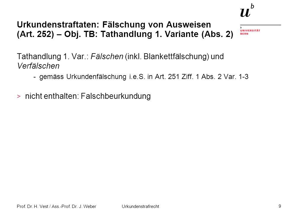Prof. Dr. H. Vest / Ass.-Prof. Dr. J. Weber Urkundenstrafrecht 9 Urkundenstraftaten: Fälschung von Ausweisen (Art. 252) – Obj. TB: Tathandlung 1. Vari