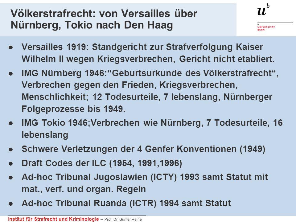 Institut für Strafrecht und Kriminologie – Prof. Dr. Günter Heine Völkerstrafrecht: von Versailles über Nürnberg, Tokio nach Den Haag Versailles 1919: