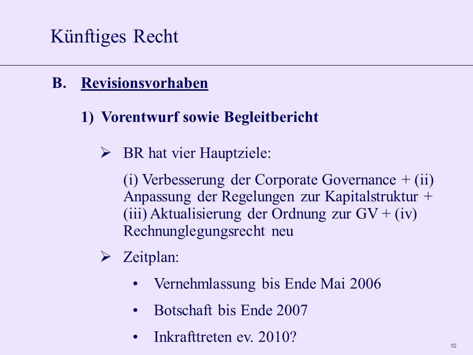 10 B.Revisionsvorhaben 1)Vorentwurf sowie Begleitbericht BR hat vier Hauptziele: (i) Verbesserung der Corporate Governance + (ii) Anpassung der Regelu