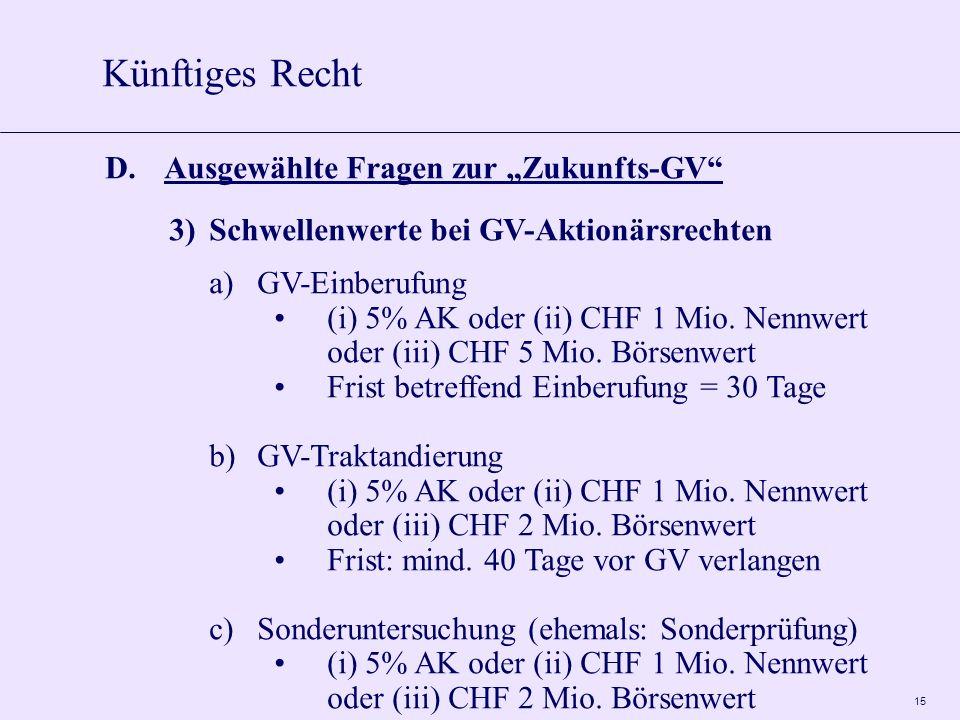 15 D.Ausgewählte Fragen zur Zukunfts-GV 3)Schwellenwerte bei GV-Aktionärsrechten a)GV-Einberufung (i) 5% AK oder (ii) CHF 1 Mio. Nennwert oder (iii) C