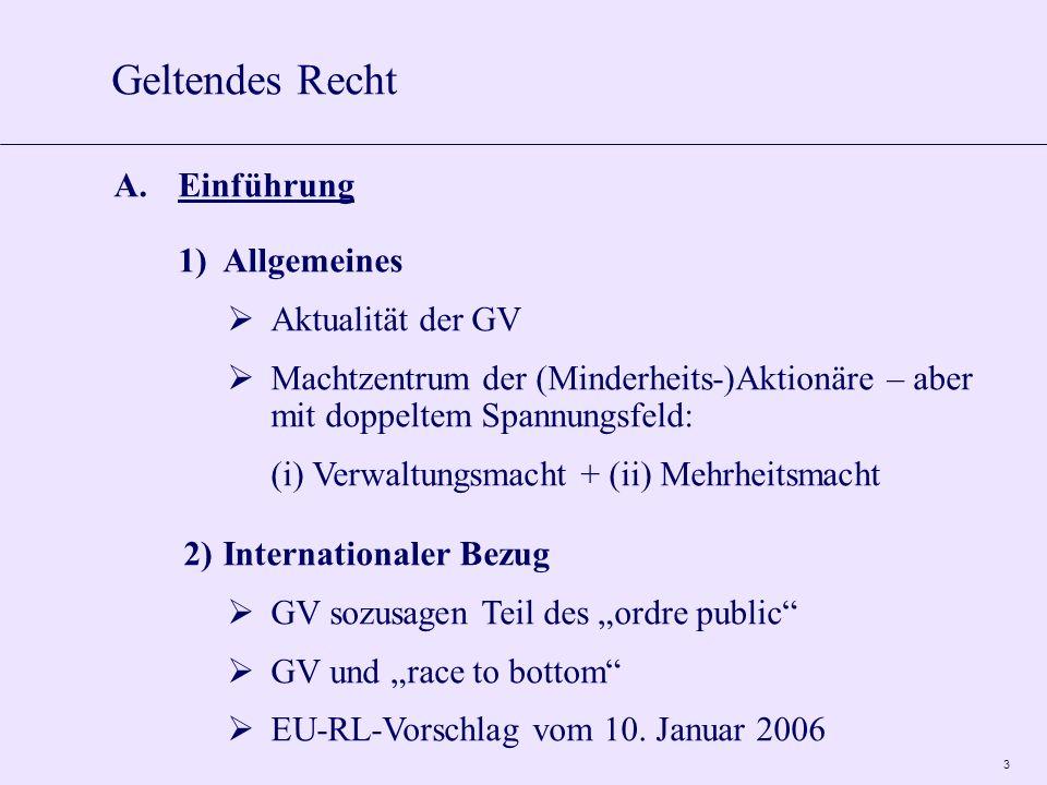 3 A.Einführung 1)Allgemeines Aktualität der GV Machtzentrum der (Minderheits-)Aktionäre – aber mit doppeltem Spannungsfeld: (i) Verwaltungsmacht + (ii