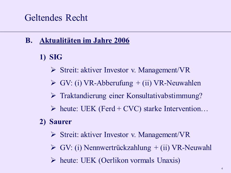 4 B.Aktualitäten im Jahre 2006 1)SIG Streit: aktiver Investor v. Management/VR GV: (i) VR-Abberufung + (ii) VR-Neuwahlen Traktandierung einer Konsulta