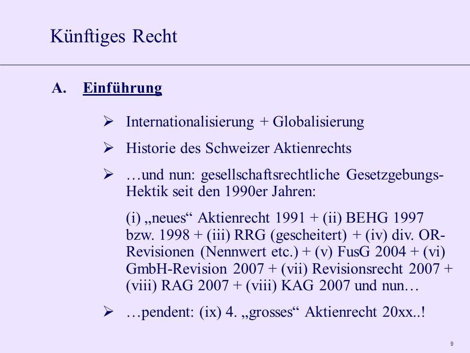 9 A.Einführung Internationalisierung + Globalisierung Historie des Schweizer Aktienrechts …und nun: gesellschaftsrechtliche Gesetzgebungs- Hektik seit