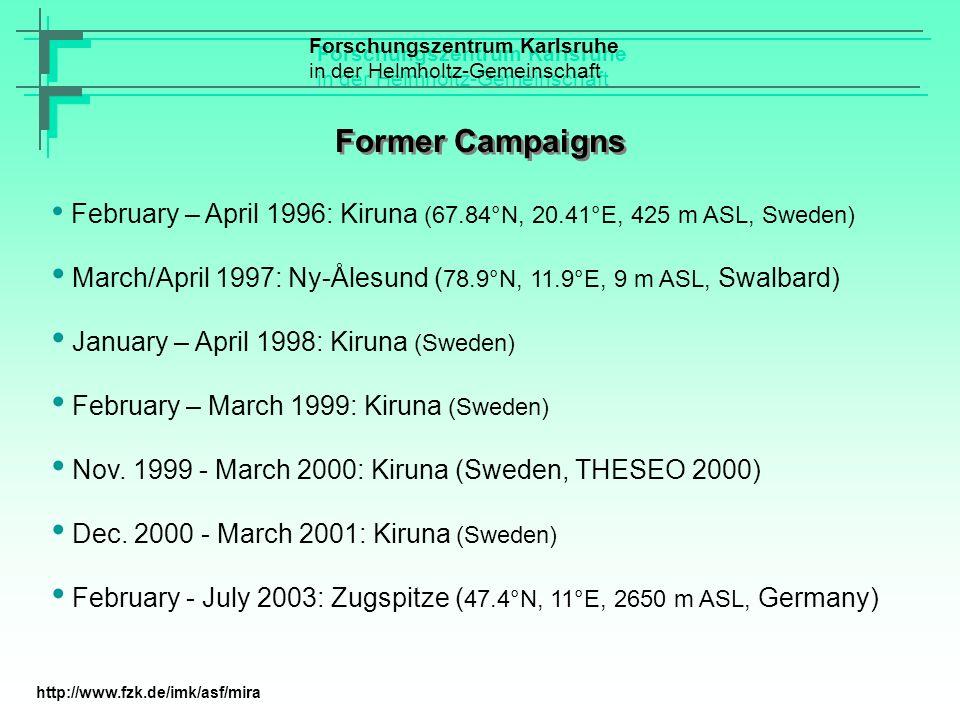 Former Campaigns February – April 1996: Kiruna (67.84°N, 20.41°E, 425 m ASL, Sweden) March/April 1997: Ny-Ålesund ( 78.9°N, 11.9°E, 9 m ASL, Swalbard)
