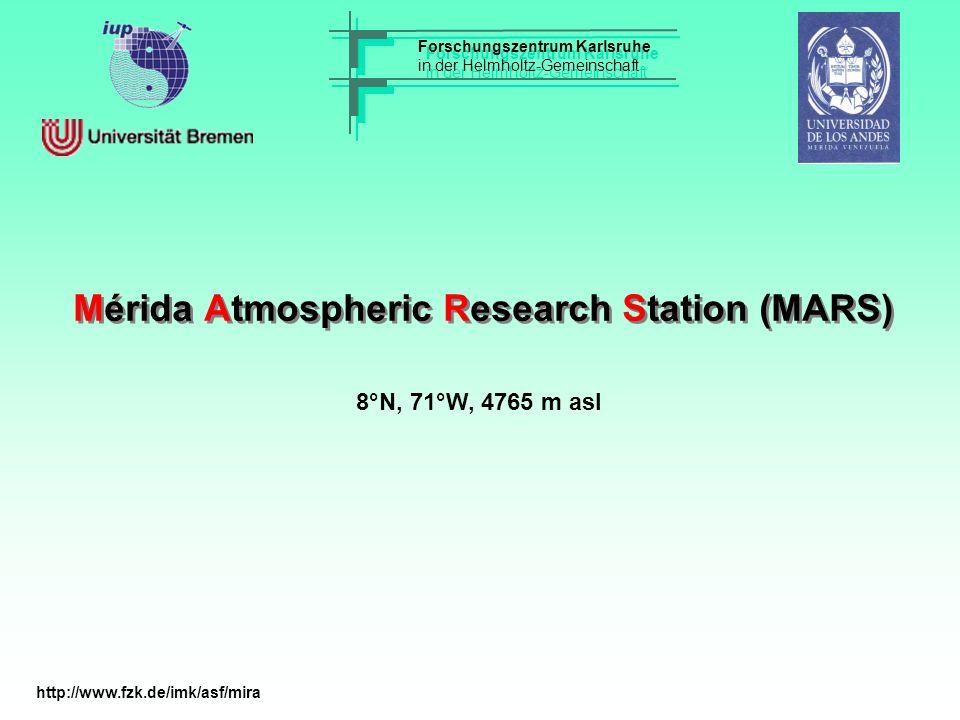 Mérida Atmospheric Research Station (MARS) Forschungszentrum Karlsruhe in der Helmholtz-Gemeinschaft Forschungszentrum Karlsruhe in der Helmholtz-Gemeinschaft 8°N, 71°W, 4765 m asl http://www.fzk.de/imk/asf/mira