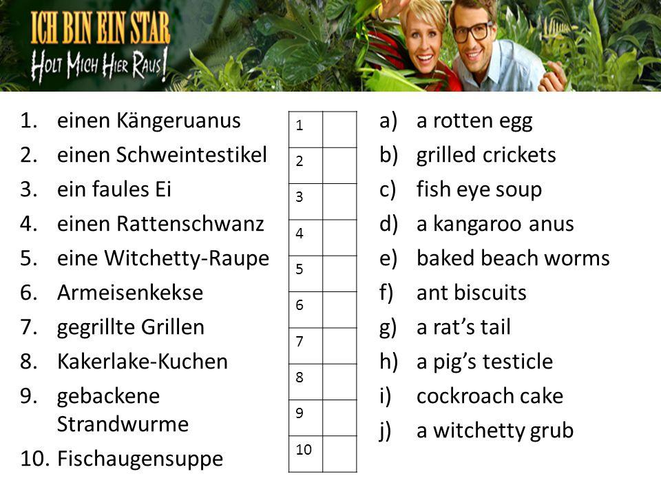 1.einen Kängeruanus 2.einen Schweintestikel 3.ein faules Ei 4.einen Rattenschwanz 5.eine Witchetty-Raupe 6.Armeisenkekse 7.gegrillte Grillen 8.Kakerlake-Kuchen 9.gebackene Strandwurme 10.Fischaugensuppe a)a rotten egg b)grilled crickets c)fish eye soup d)a kangaroo anus e)baked beach worms f)ant biscuits g)a rats tail h)a pigs testicle i)cockroach cake j)a witchetty grub 1D 2H 3A 4G 5J 6F 7B 8I 9E 10C