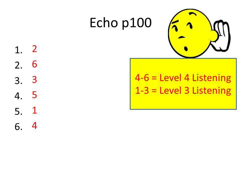 Echo p100 1. 2. 3. 4. 5. 6. 263514263514 4-6 = Level 4 Listening 1-3 = Level 3 Listening