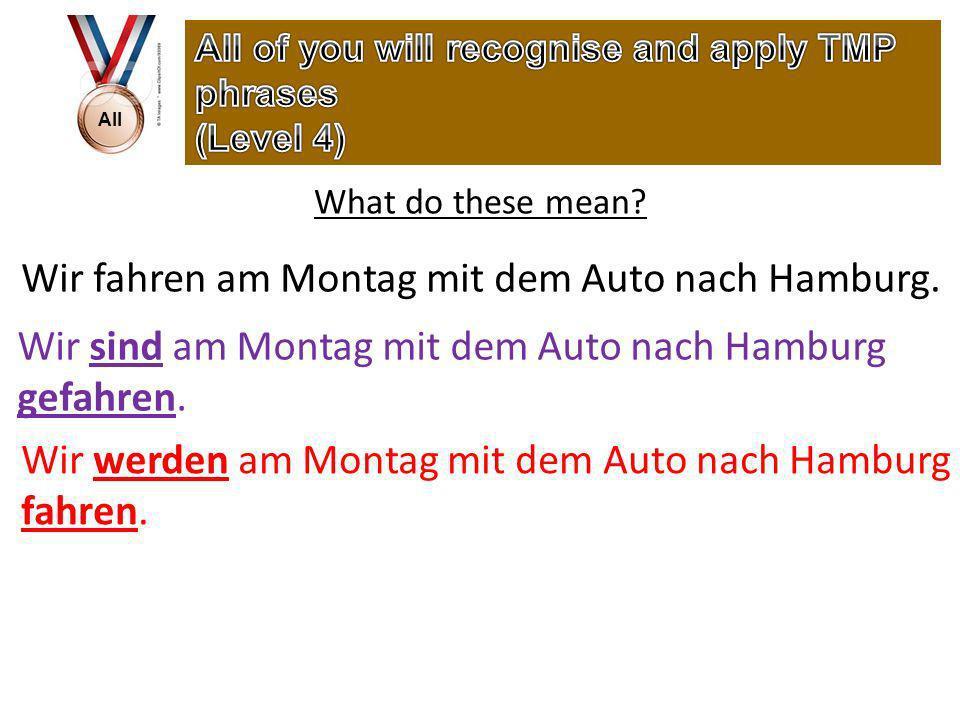 All What do these mean. Wir fahren am Montag mit dem Auto nach Hamburg.
