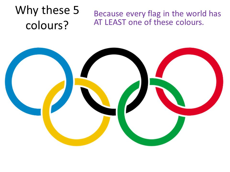 Why these 5 colours? Because every flag in the world has AT LEAST one of these colours.