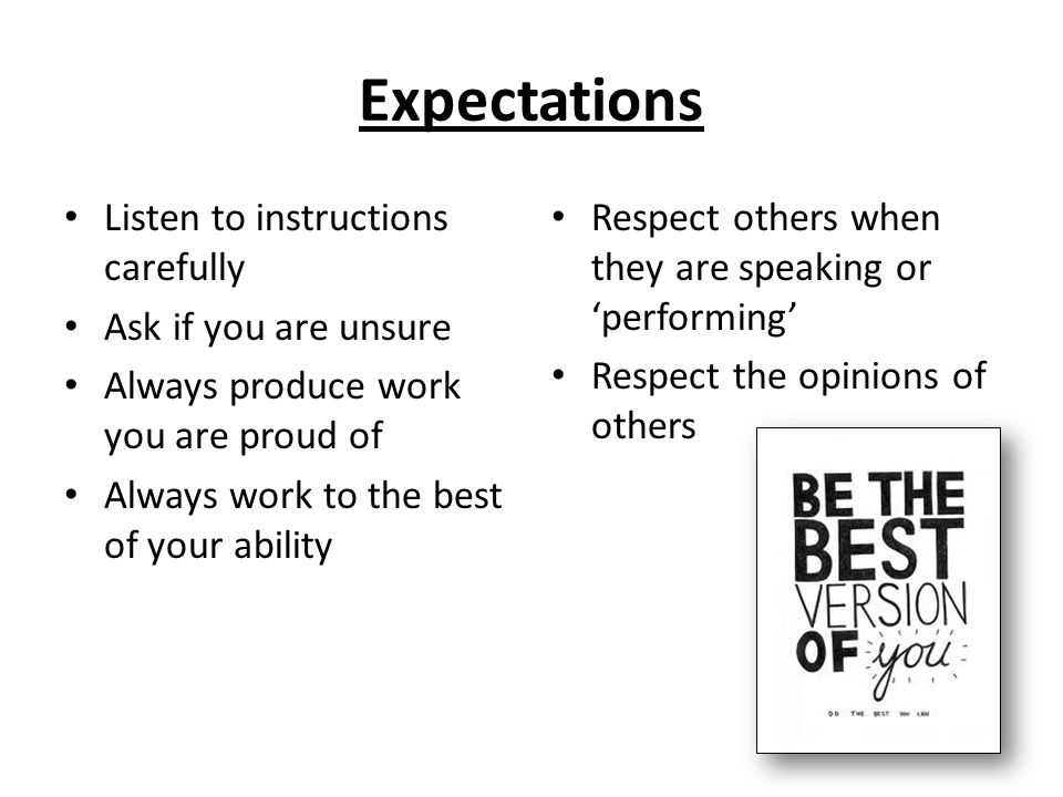 Expectations Listen to instructions carefully Ask if you are unsure Always produce work you are proud of Always work to the best of your ability Respect others when they are speaking or performing Respect the opinions of others