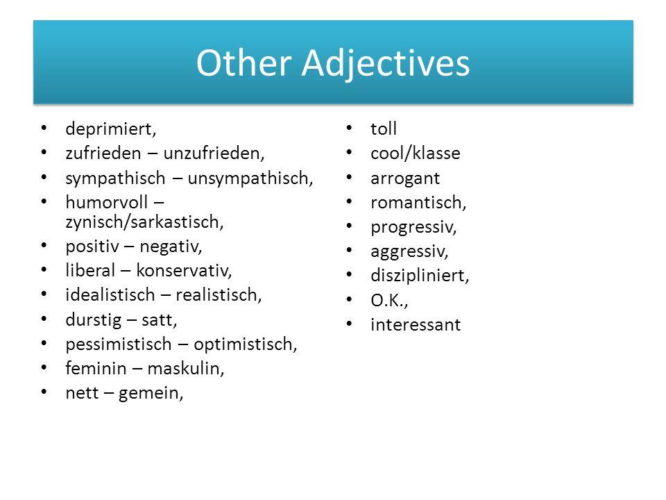 Other Adjectives deprimiert, zufrieden – unzufrieden, sympathisch – unsympathisch, humorvoll – zynisch/sarkastisch, positiv – negativ, liberal – konservativ, idealistisch – realistisch, durstig – satt, pessimistisch – optimistisch, feminin – maskulin, nett – gemein, toll cool/klasse arrogant romantisch, progressiv, aggressiv, diszipliniert, O.K., interessant