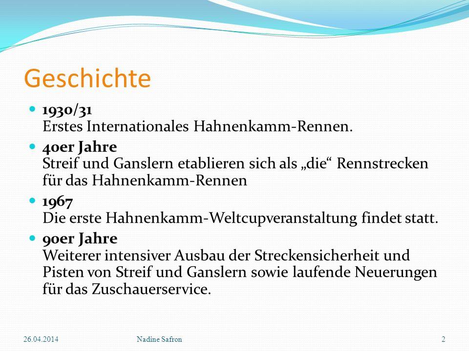 Geschichte 1930/31 Erstes Internationales Hahnenkamm-Rennen. 40er Jahre Streif und Ganslern etablieren sich als die Rennstrecken für das Hahnenkamm-Re
