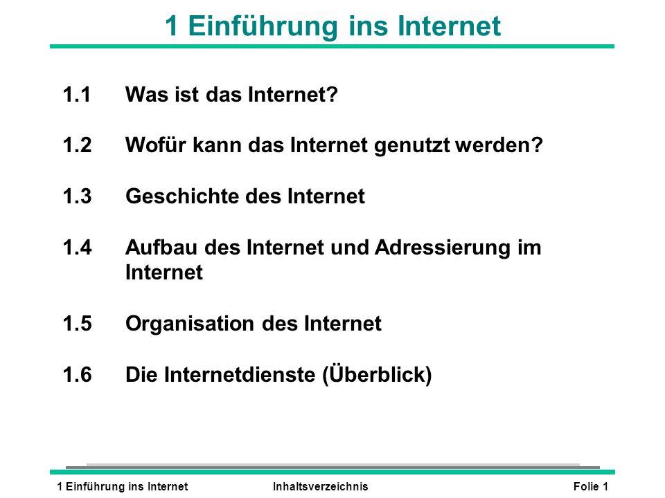 Folie 11 Einführung ins InternetInhaltsverzeichnis 1 Einführung ins Internet 1.1Was ist das Internet? 1.2Wofür kann das Internet genutzt werden? 1.3Ge