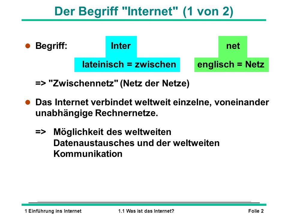 Folie 21 Einführung ins Internet1.1 Was ist das Internet? l Begriff:Internet lateinisch = zwischen englisch = Netz =>