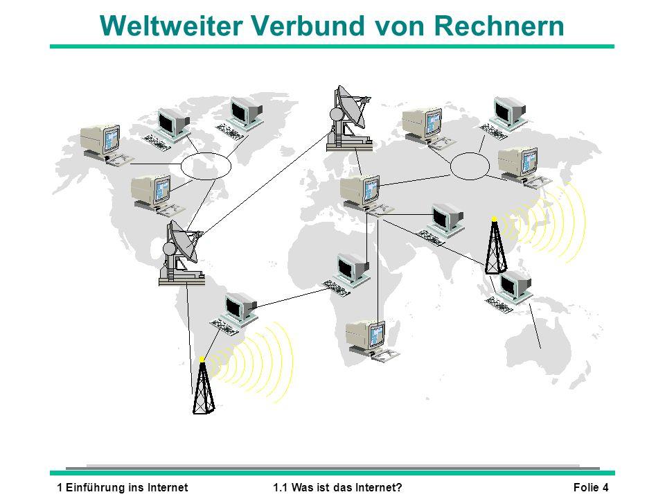 Folie 41 Einführung ins Internet1.1 Was ist das Internet? Weltweiter Verbund von Rechnern