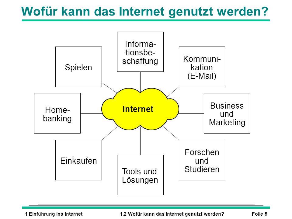 Folie 51 Einführung ins Internet1.2 Wofür kann das Internet genutzt werden? Wofür kann das Internet genutzt werden? Forschen und Studieren Tools und L