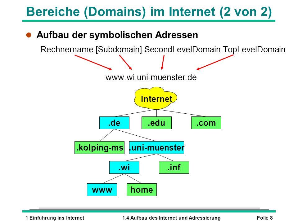 Folie 81 Einführung ins Internet1.4 Aufbau des Internet und Adressierung l Aufbau der symbolischen Adressen Rechnername.[Subdomain].SecondLevelDomain.TopLevelDomain www.wi.uni-muenster.de.de.edu.com.kolping-ms.uni-muenster.wi.inf wwwhome Bereiche (Domains) im Internet (2 von 2) Internet