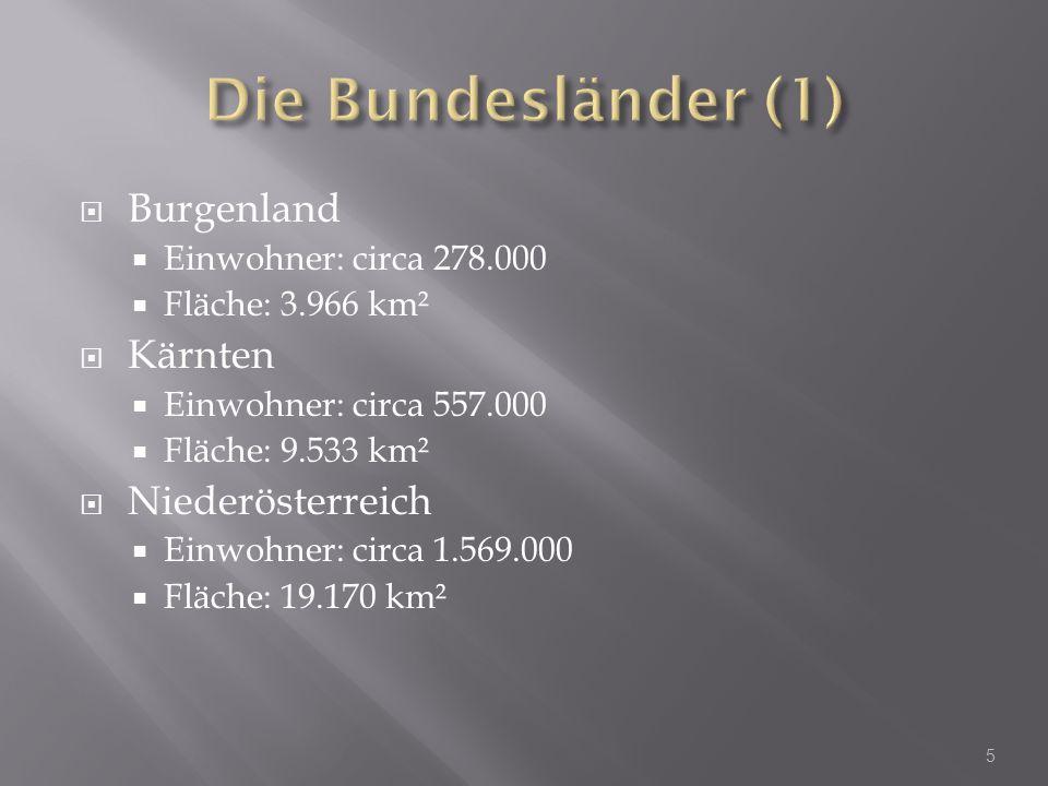 Burgenland Einwohner: circa 278.000 Fläche: 3.966 km² Kärnten Einwohner: circa 557.000 Fläche: 9.533 km² Niederösterreich Einwohner: circa 1.569.000 F
