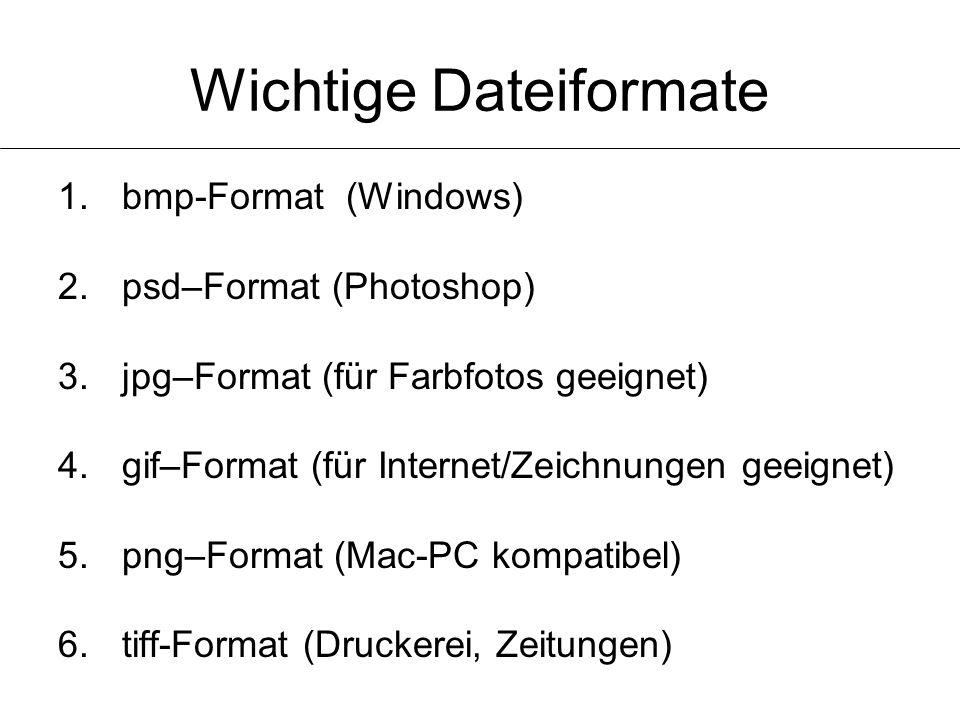 Wichtige Dateiformate 1.bmp-Format (Windows) 2.psd–Format (Photoshop) 3.jpg–Format (für Farbfotos geeignet) 4.gif–Format (für Internet/Zeichnungen gee