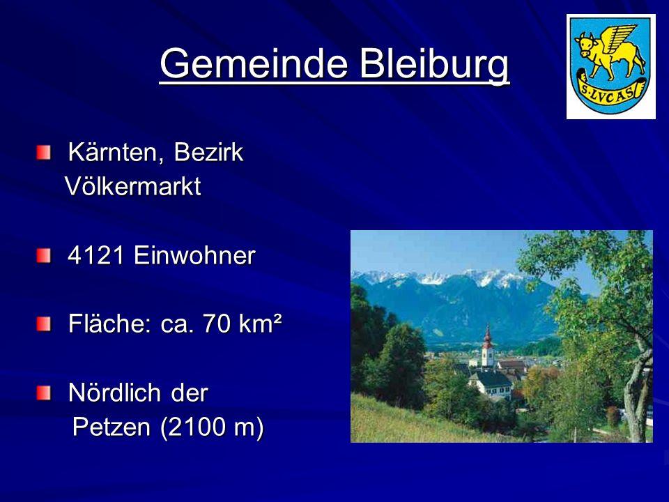 Gemeinde Bleiburg Kärnten, Bezirk Kärnten, Bezirk Völkermarkt Völkermarkt 4121 Einwohner 4121 Einwohner Fläche: ca. 70 km² Fläche: ca. 70 km² Nördlich