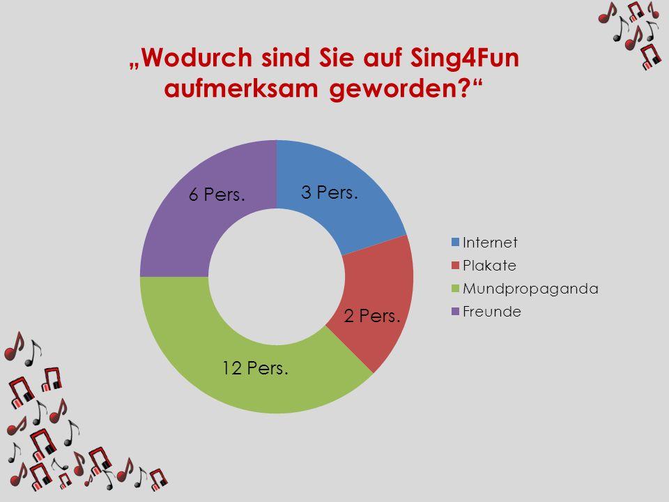 Wodurch sind Sie auf Sing4Fun aufmerksam geworden? 6 Pers. 12 Pers. 3 Pers. 2 Pers.