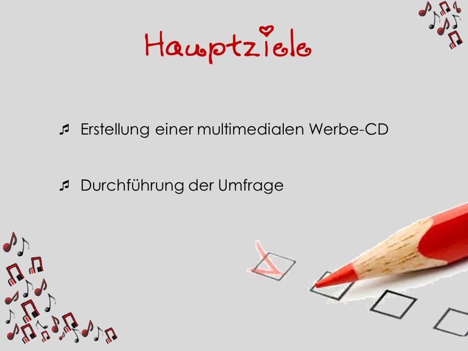 Erstellung einer multimedialen Werbe-CD Durchführung der Umfrage