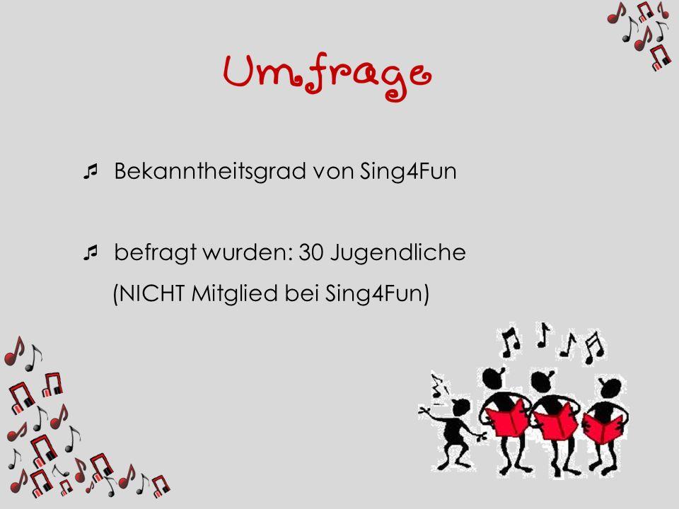 Bekanntheitsgrad von Sing4Fun befragt wurden: 30 Jugendliche (NICHT Mitglied bei Sing4Fun)