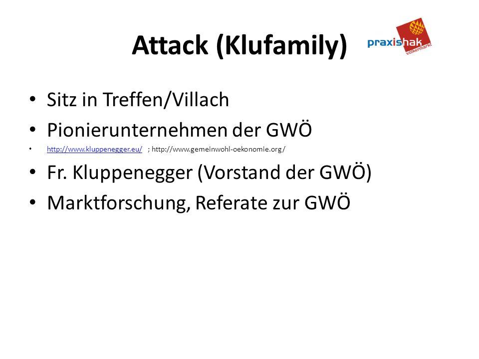 Attack (Klufamily) Sitz in Treffen/Villach Pionierunternehmen der GWÖ http://www.kluppenegger.eu/ ; http://www.gemeinwohl-oekonomie.org/ http://www.kluppenegger.eu/ Fr.