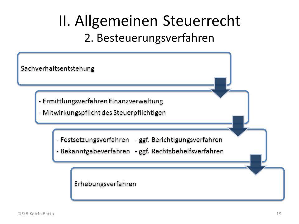 II. Allgemeinen Steuerrecht 2. Besteuerungsverfahren StB Katrin Barth13 Sachverhaltsentstehung - Ermittlungsverfahren Finanzverwaltung - Mitwirkungspf