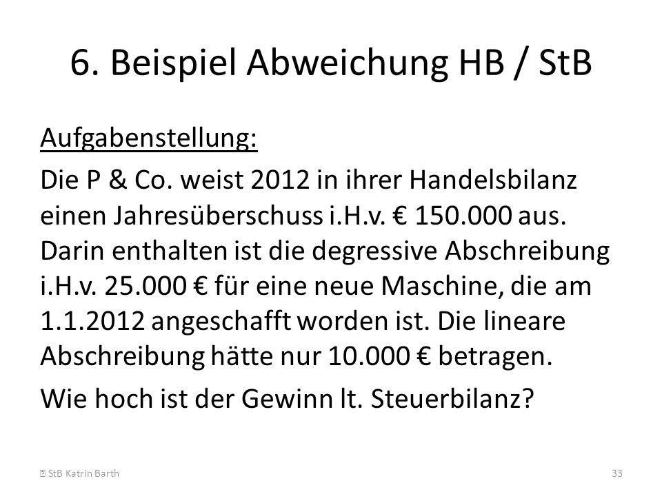 6. Beispiel Abweichung HB / StB Aufgabenstellung: Die P & Co. weist 2012 in ihrer Handelsbilanz einen Jahresüberschuss i.H.v. 150.000 aus. Darin entha