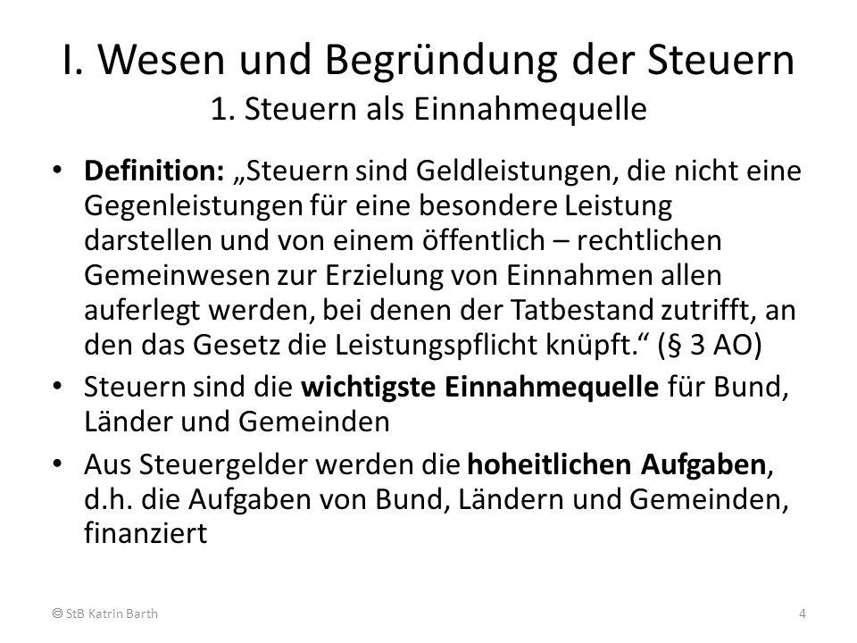 II. Wesen und Begründung der Steuern 1. Steuern als Einnahmequelle StB Katrin Barth5