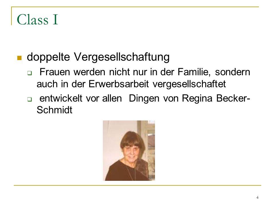 4 Class I doppelte Vergesellschaftung Frauen werden nicht nur in der Familie, sondern auch in der Erwerbsarbeit vergesellschaftet entwickelt vor allen Dingen von Regina Becker- Schmidt