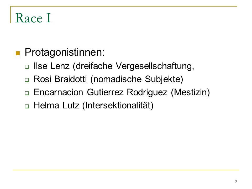 9 Race I Protagonistinnen: Ilse Lenz (dreifache Vergesellschaftung, Rosi Braidotti (nomadische Subjekte) Encarnacion Gutierrez Rodriguez (Mestizin) Helma Lutz (Intersektionalität)