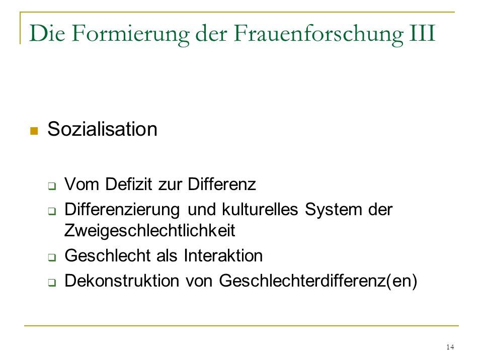 14 Die Formierung der Frauenforschung III Sozialisation Vom Defizit zur Differenz Differenzierung und kulturelles System der Zweigeschlechtlichkeit Geschlecht als Interaktion Dekonstruktion von Geschlechterdifferenz(en)