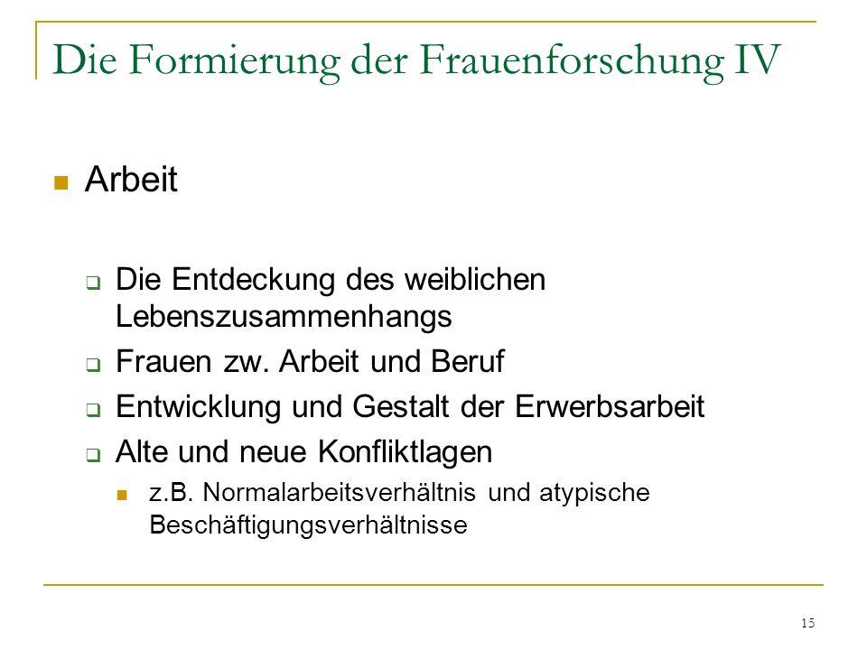 15 Die Formierung der Frauenforschung IV Arbeit Die Entdeckung des weiblichen Lebenszusammenhangs Frauen zw.