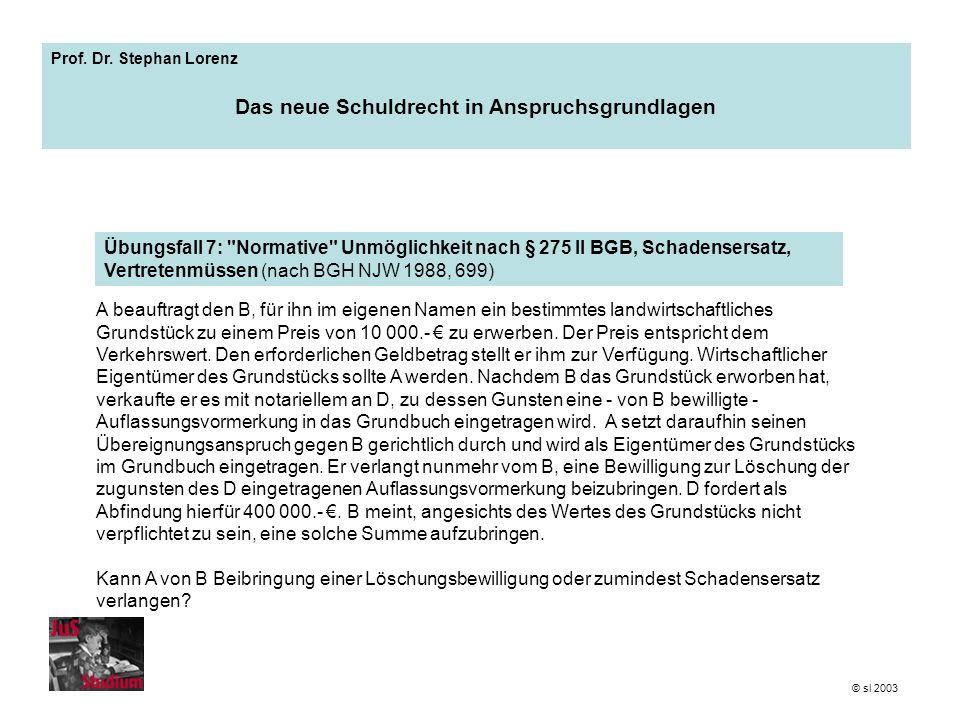 Prof. Dr. Stephan Lorenz Das neue Schuldrecht in Anspruchsgrundlagen A beauftragt den B, für ihn im eigenen Namen ein bestimmtes landwirtschaftliches