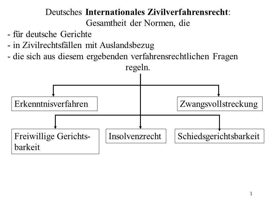 1 Deutsches Internationales Zivilverfahrensrecht: Gesamtheit der Normen, die - für deutsche Gerichte - in Zivilrechtsfällen mit Auslandsbezug - die si